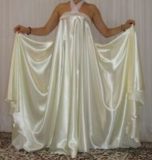 VTG Lingerie Satin Halter Slip Full Sweep Negligee Babydoll LONG Nightgown 1X-3X