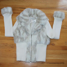 NEW Boston Proper Faux Fur Collar Sweater Cardigan Jacket Coat (L) Ivory White
