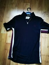Fred Perry Bradley Wiggins Cycling Zipup Polo Shirt Size Small