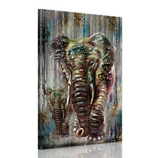 Canvas Prints Decor Wall Art Painting Picture-Retro Watercolor Elephant Unframed