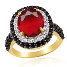 Ruby Solitaire With Accent Engagement Ring 18K Gold Over 925 Sterling Silver