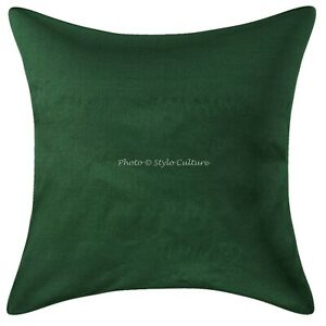 Decorative Polydupion Throw Pillows Green 16x16 Solid Plain Cushion Cover