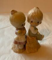 Vintage 1993 Precious Moments Girl/Boy on Stump Salt & Pepper Shakers