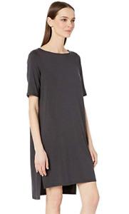 Eileen Fisher Elbow Sleeve Shift Dress GRPHT NWT $178