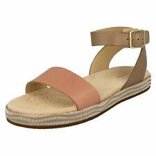Ladies Clarks Botanic Ivy Casual Leather Ankle Strap Sandals UK 6.5 Sand Combi (beige) Standard (d)