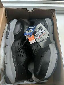 Men's NEW Skechers Work Soven Sr Safety Toe Work Blk/Gray Wide Shoes Mens Sz 9.5