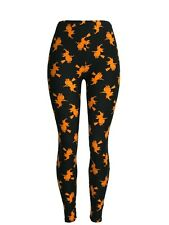 Orange Witches Flying On A Broom Black Bckgrnd Tall & Curvy Regular Waistband TC