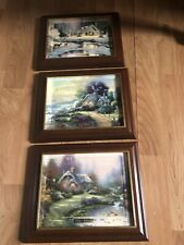 Thomas Kinkade Seasons Of Reflection Limited Edition Framed Plates Lot of 3