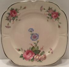 "Edwin M. Knowles China Co. 6"" Floral Pink Rose peonie Plate 35-3"