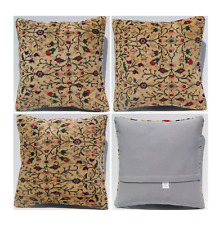 "handmade three floral pillow covers square Turkish carpet cushion rugs 16""X16"""