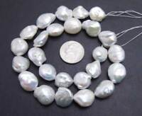 12*18mm White Coin Natural Pearl Loose Beads for Jewelry Making DIY Strands 14''