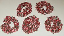 NEW LOT OF 5 HANDMADE CROCHET HAIR SCRUNCHIES SET GREEN RED WHITE CHRISTMAS