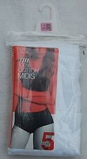 *M & S* 5 Pack 100% Cotton MIDIS KNICKERS Size 22 White New in Pack