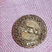 Vintage ART Signed Aries Astrology Gold Tone Brooch Pin Clip