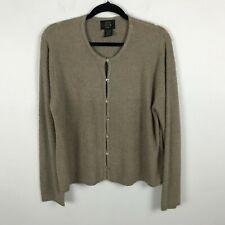 Moda Seta Knitwear Cardigan Sweater Size XL Beige Solid Silk Blend Womens