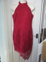 BNWT UK 18 LIPSY Dress Red Lace Halter High Neck Bodycon Midi Asymmetrical Hem