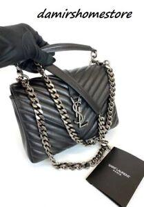 Yves Saint Laurent Monogram College Medium Shoulder Bag Matelasse Leather