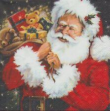 2 Serviettes en papier Père Noël Cadeau Decoupage Paper Napkins Santa with Gifts