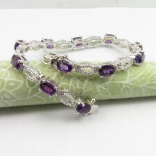 February Birthstone ! 925 SOLID Sterling Silver Natural AMETHYST Bracelet 7.1""