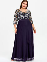 Women Lace Sequined Maxi Dress Cocktail Party Evening Wedding Prom Gown Dress