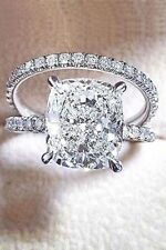 Certified 3.50Ct Radiant Diamond Engagement Wedding Ring in Solid 14K White Gold
