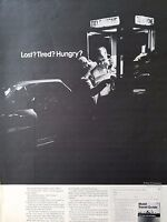1968 Mobil Oil Travel Guide Lost Tired Hungry Phone Booth Original Ad
