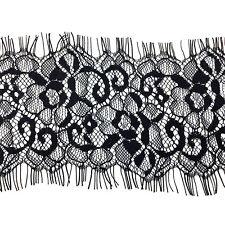 3m x 85mm Black Floral Lace Trim Single Scalloped Edge Eyelash Mesh Trimming L13