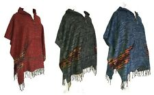 Vegan Wool Poncho with Aztec Stripe Pocket Hooded Acrylic Cape Hippy Festival