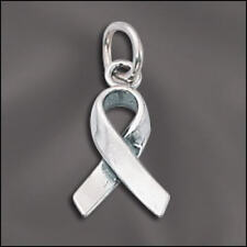 Charm - 3D Cancer Awareness Ribbon Charm .925 Sterling Silver