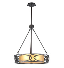 3-Light Oil-Rubbed Bronze Pendant with Frosted Amber Glass Shade (Retail $190)
