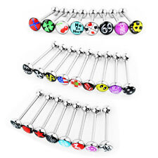 Wholesale 25 Lot 14g Tongue Rings Bar Balls Barbell Body Piercing Jewelry Logo