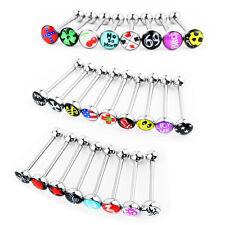 Wholesale 25 Lot 14g Tongue Rings Bar Balls Barbell Body Piercing Jewelry Logo