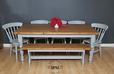 Reclaimed Farmhouse Table, Chairs & Bench - Handpainted - Free Delivery 100miles