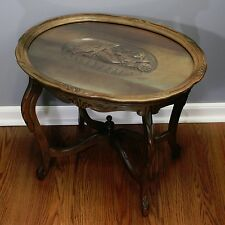 Vtg Oval Wood Side End Accent Glass Top Wooden Carving Black Forest German Table