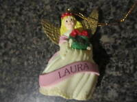 Vintage Hard Plastic Christmas Angel Ornament Holding a wreath Laura name on it