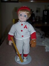 Porcelain Boy Baseball player A's with Stand