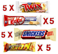 20 MIXED WHITE CHOCOLATE BARS PACKED {5 X (KITKAT, SNICKERS, TWIX, LION)}