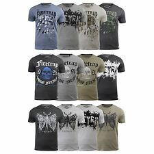 Mens T-Shirt Firetrap Graphic Printed Cotton Crew Neck Casual Tee Top