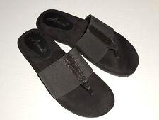 """Annie Shoes Women's """"Jana"""" Black Slide Thong Sandals Shoes 8 (B,M)"""