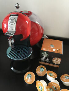 Nescafe Dolce Gusto Single Serve Coffee System Maker.RED+FREE Starbucks Capsules