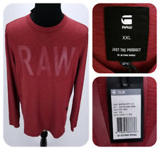 G STAR RAW Long Sleeve Barqan T Shirt Men's XXL Slim Fit Dry Red