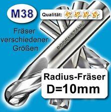 Radius-Fräser R5x100mm, D=10mm, Schaftfräser, M38, vergl. HSSE, HSS-E