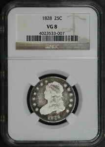 1828 Capped Bust Quarter NGC VG-8 Lovely Circulated Toning