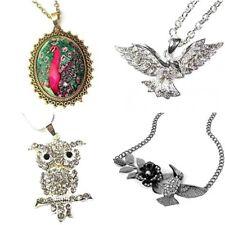 Silver Gold Crystal Necklace Peacock Falcon Owl Hummingbird Fancy Dress Pendant