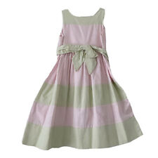 Hartstrings Pink and Green Striped Children's Easter Dress Bow Size 5 Sprin