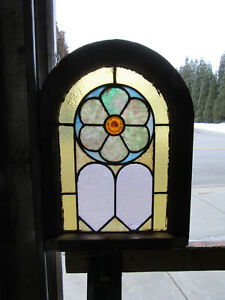 ~ ANTIQUE AMERICAN STAINED GLASS WINDOW CIRCLE TOP ~ 16 X 21 ~  SALVAGE