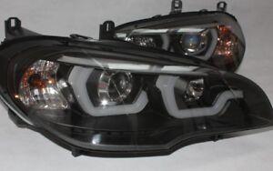 Phare avant Set Noir Pour BMW E70 X5 Feux Cff LED Béquille Lightbar + Moteur