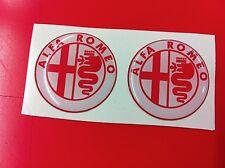 2 Adesivi Resinato Sticker 3D ALFA ROMEO 20 mm white & red