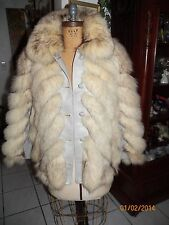 vintage gray leather & norwegian fox fur spiral coat jacket m/l 20in chest