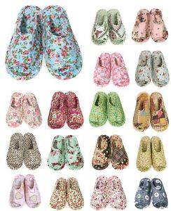 Women Home Cotton Slippers Flower Paisley Leopard Heart Varies Pattern One Size